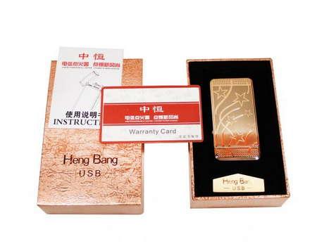 Электроимпульсная, дуговая USB зажигалка Heng Bang (Звезды)
