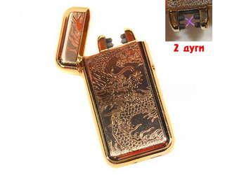 Фото товара Электроимпульсная, 2х дуговая USB зажигалка Дракон